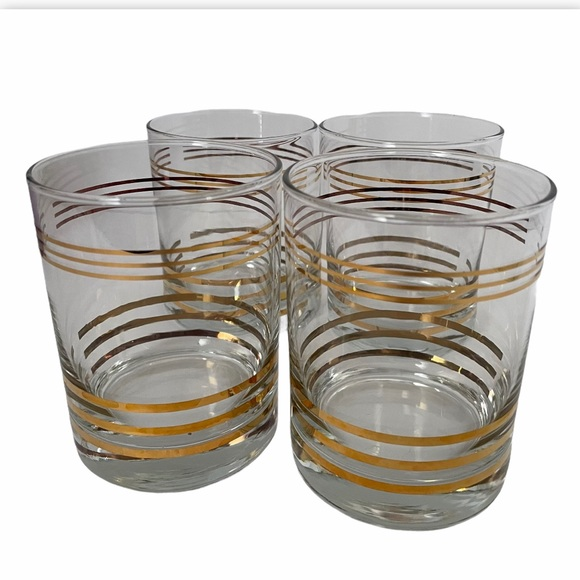 Vintage set of 4 Gold Trim Rocks Whiskey Glasses